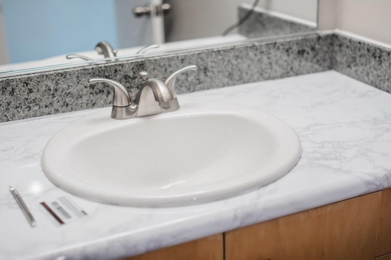 DIY Marble Contact Paper Bathroom