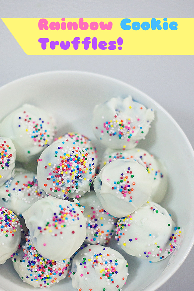 Rainbow Cookie Truffles with Gimmee Jimmy's Cookies