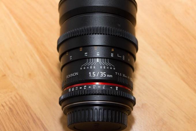 Rokinon Cine 35 mm Above shot of lens