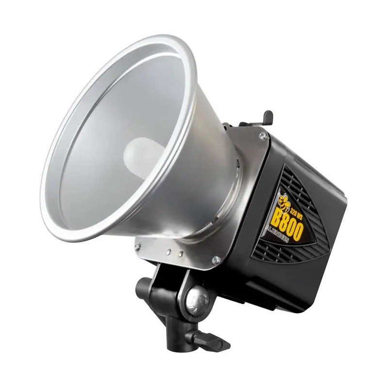 A profile view of the Alien Bee 800 flash unit