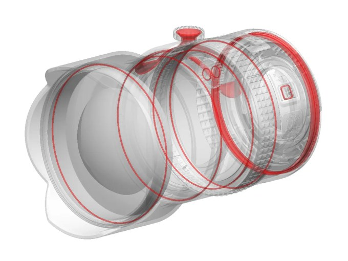 Pentax's 25mm f4 for their 645D camera system has weather seals in the red area in this diagram.