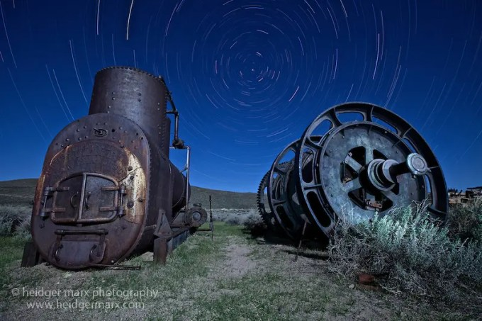 Night photography of old machinery at Bodie Ghost Town (stacked)