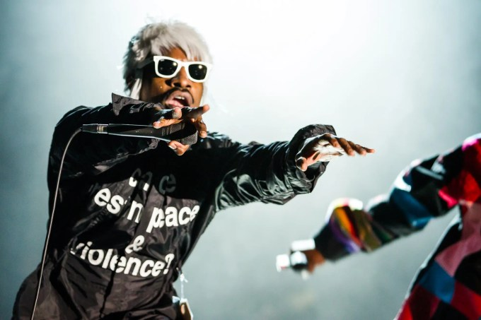 Outkast Andre 3000 and Big Boi performing at LouFest in St. Louis on September 7th, 2014.