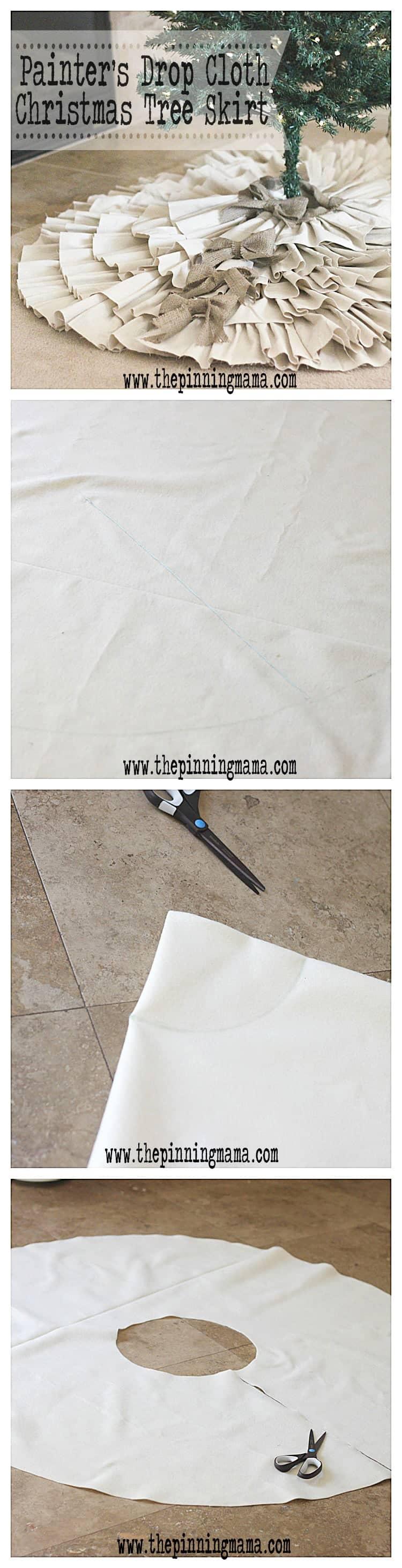 DIY Drop Cloth & Burlap Christmas Tree Skirt by www.thepinningmama.com