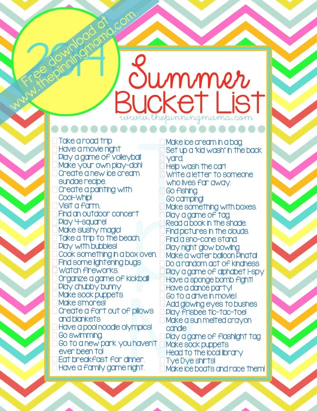 Free Printable Summer Bucket List *2014* 50 Summer ideas & activities for kids and families. Click to see ideas with link on how to do them!