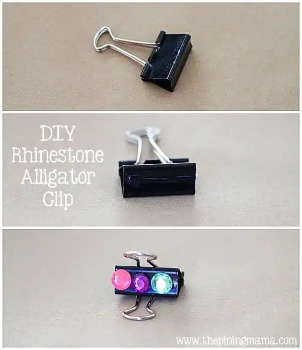 DIY Rhinestone alligator clips plus 12 other easy rhinestone projects!