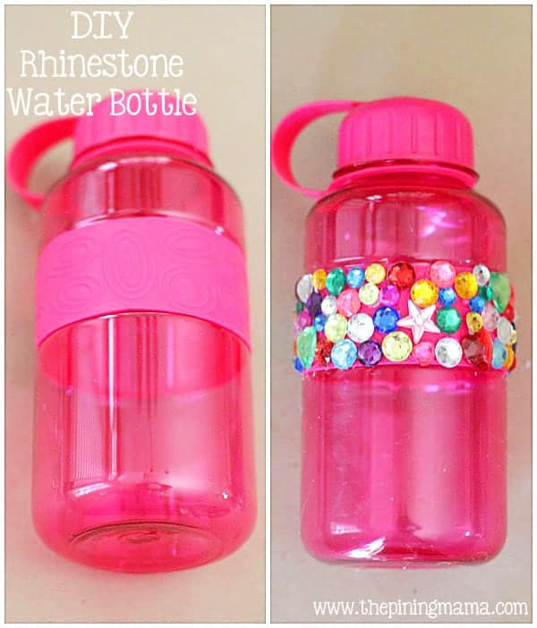 DIY Rhinestone water bottle plus 12 other easy rhinestone projects!