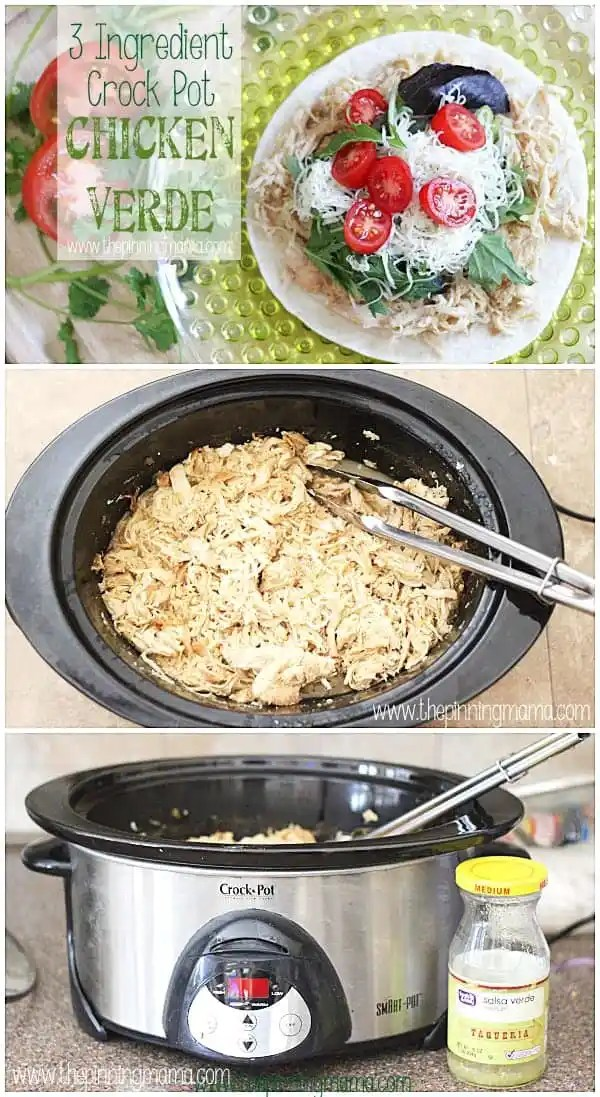 3 Ingredient Crock Pot Chicken Verde - This super easy weeknight dinner recipe that can be used for tacos, quesadillas, enchiladas, salads and more!
