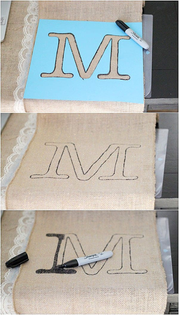 Monogrammed Burlap Table Rinner is a quick and easy craft with very little prep or clean up. Doesn't get much better than that!