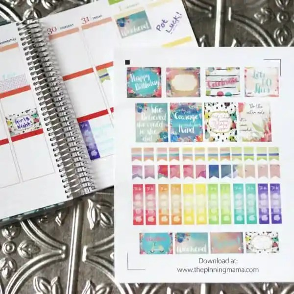 Free Erin Condren Planner Stickers- These watercolor stickers are TO-DIE-FOR! Free Silhouette CAMEO print and cut file and image file.