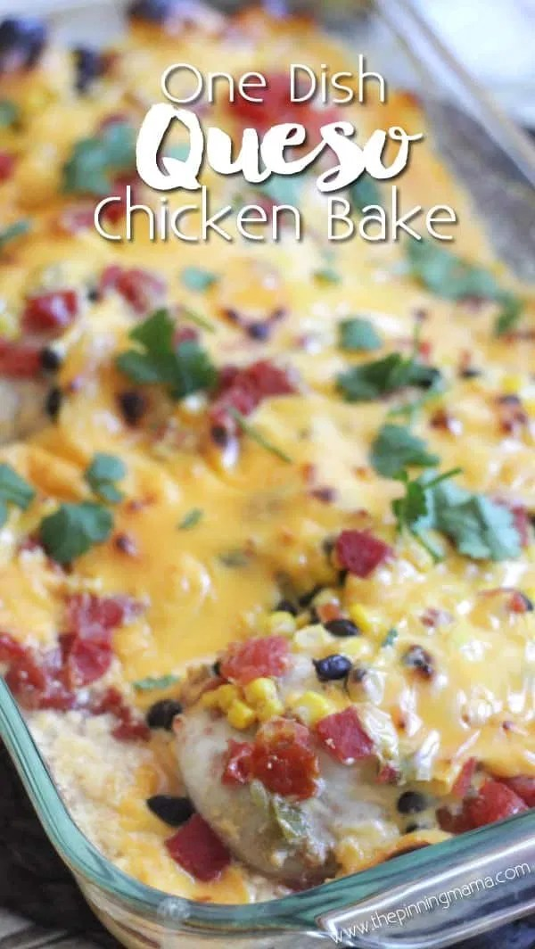 Queso chicken bake recipe - Easy + delicious = best dinner EVER! My kids loved this dinner and asked for 2 extra servings! We made it with rice, but next time we will try tortillas!
