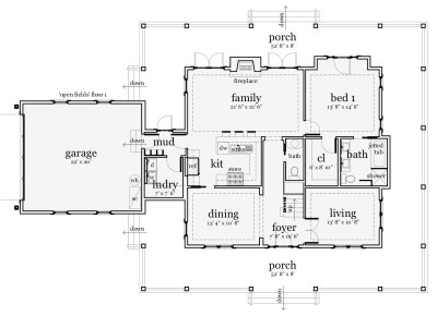 4 Bedrm, 2265 Sq Ft Country House Plan #116-1001
