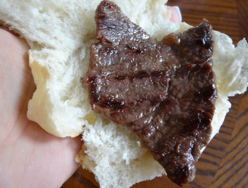 Then just take a slice or two of steak and place on the slider sized bread.  I prefer a Portuguese Pop Seco.