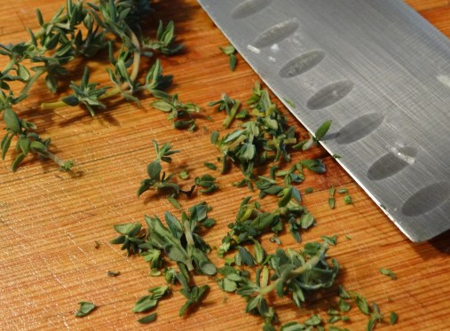 Chop up some thyme after removing from the stem and toss in the pan.  That's the last chopping you will need to do.
