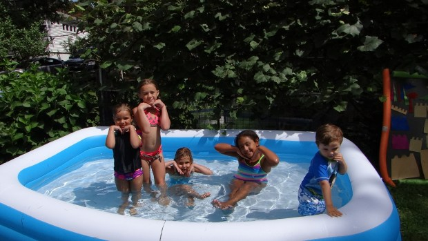 Even some of the bigger kids had fun in the kiddie pool with the little ones.