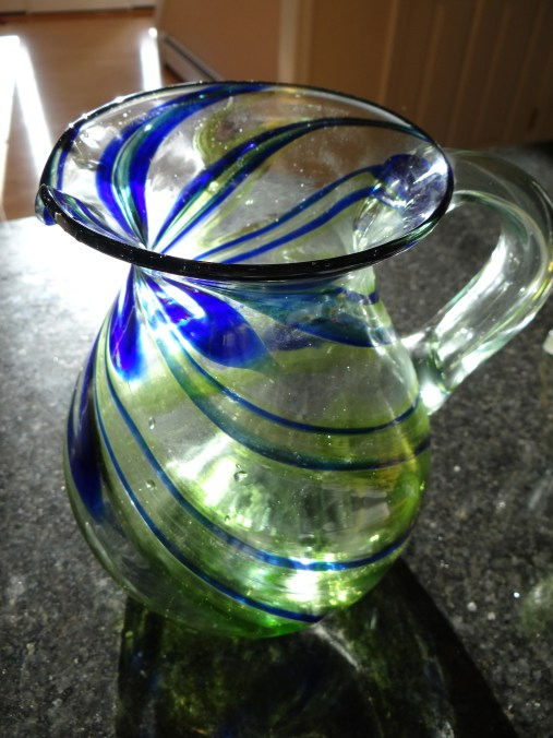 This is my favorite Mojito pitcher!  Isn't it pretty with all the blue and green running through it?  I gave it a quick wash and it's ready... I mix everything right in the pitcher, no need to dirty a bowl... If you are making this for a party, i would suggest a large bowl so that you can refill... but, we are just having a small get together.