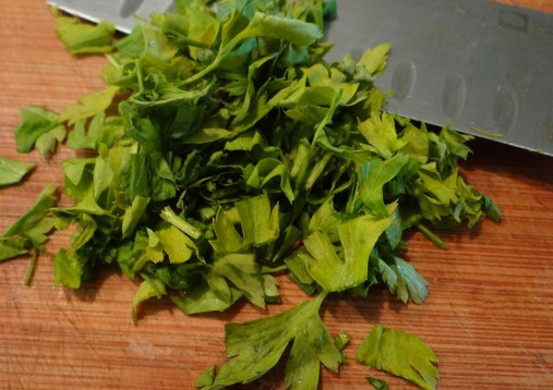 Chop up a couple Tbs. of flat Italian parsley.