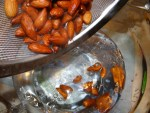 Remove from the boiling water and place almonds immediately into very cold water.