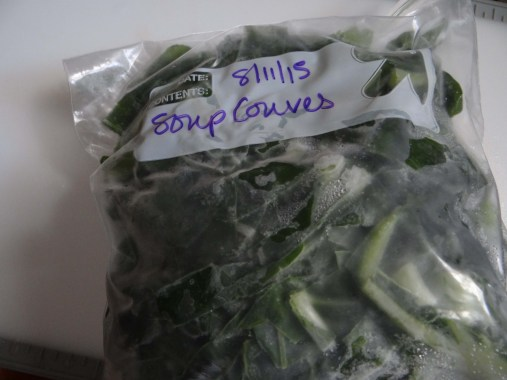 This time of year, obviously I don't have a garden full of couves. But at harvest time, I was sure to cut some up and package it into nice freezer bags to last all winter long. If you don't have this handy, no problem... Just grab a bunch of colard greens at the supermarket. rinse each leaf, roll them up and cut into ribbons about 1/2 wide. For this recipe you will need half a bunch and you can freeze the other half just like this for next time!