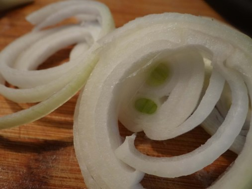 Very thinly slice your onions.