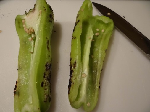 Cut your pepper in half length wise. Remove the seeds and stem.