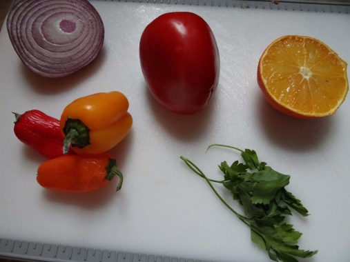 Gather these ingredients for your carribean style pico de gallo.