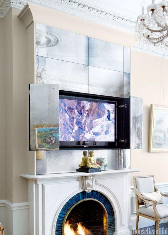 Antique Mirrored TV cover via House Beautiful