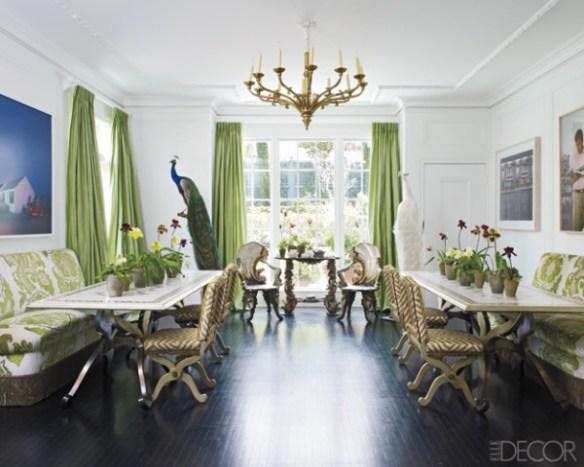Green curtains and fabrics