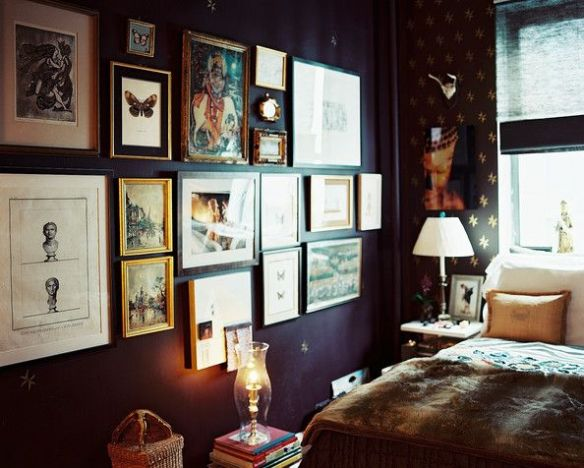 Dark Room with Gallery Wall via Lonny