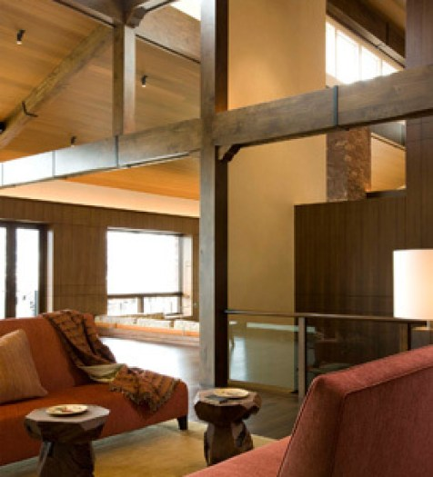 Exposed Wood Beams and glass railing