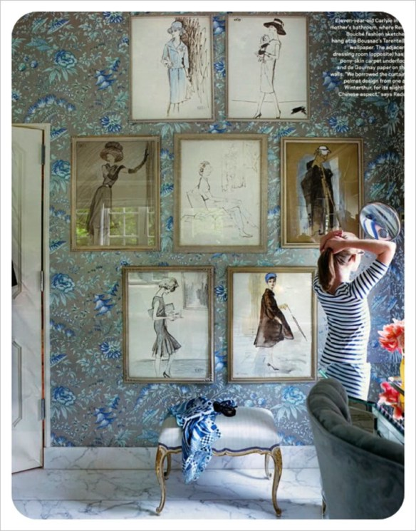 Gallery Wall in a dressing room via Pinterest