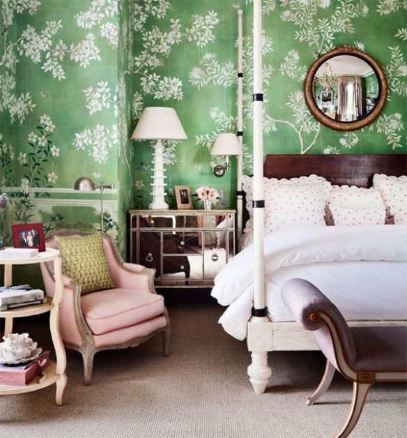 Gracie Wallpaper bedroom by Mario Buatta via AD