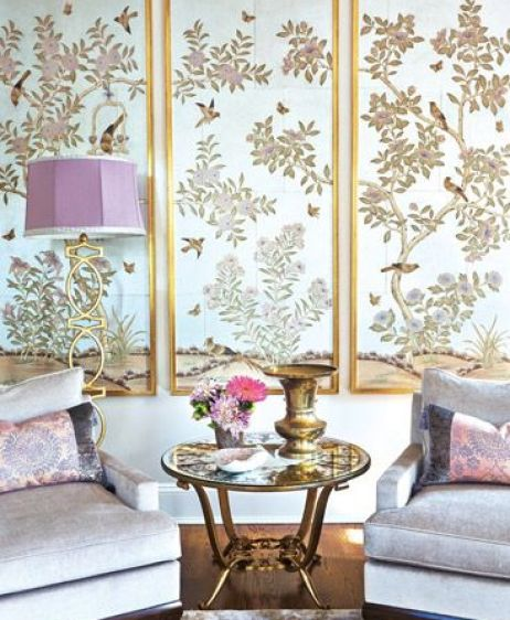 Gracie Wallpaper sitting area via NYC Cottages and Gardens