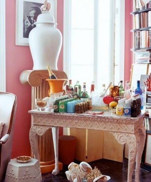 Miles Redd_Pink Room Bar Table via La Dolce Vita