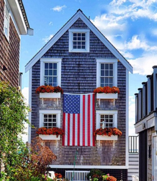 Nantucket house with American Flag