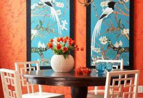 Orange Dining Room via Chinoserie Chic