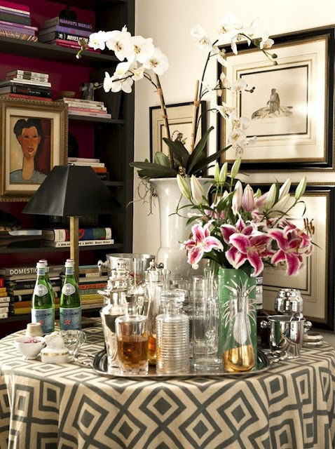 Silver Tray on table for bar via Pinterest