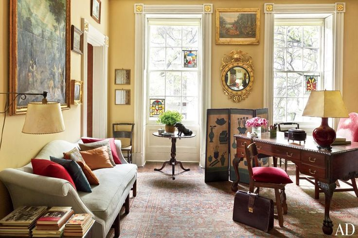 A Lovely Desk Space In The Corner Of This Formal Living Room Andrea Ansons Townhouse Photo Source Architectural Digest