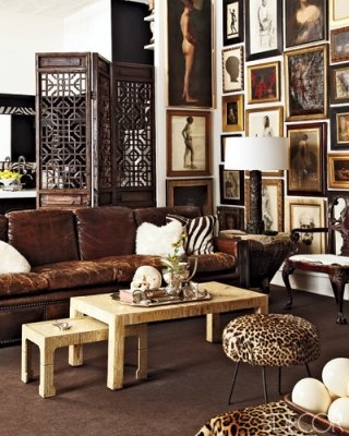Animal Print with Gallery Wall and Screen via Elle Decor