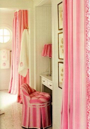 Charlotte Moss vanity in pink via Belclaire House Blog