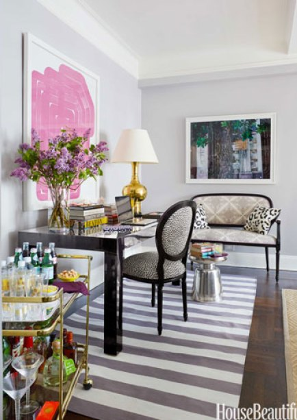 Desk in Small Living Room by Ashley Whittaker via HB