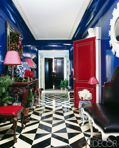 Miles Redd Blue and Red Hallway via Elle Decor