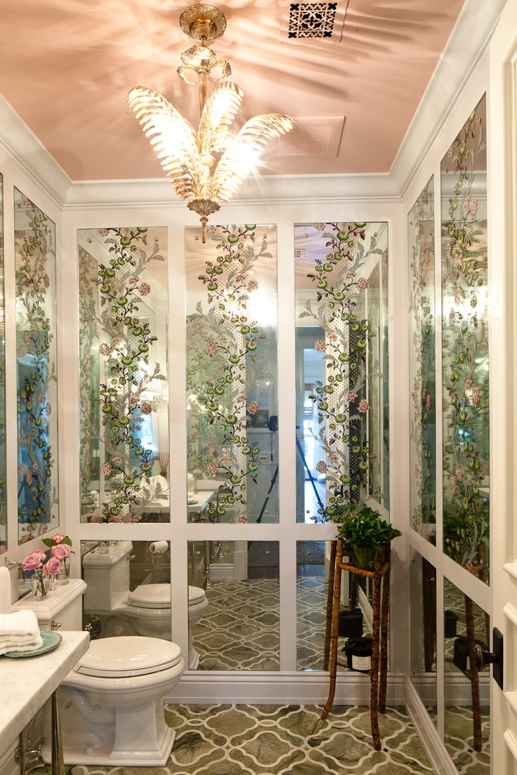 black and white the potted boxwood page 2 a very classic bathroom with painted mirrored paneling and detailed flooring photo source chinoiserie chic