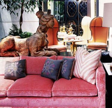 Pink Sofa by Kelly Wearstler via Casa Sugar
