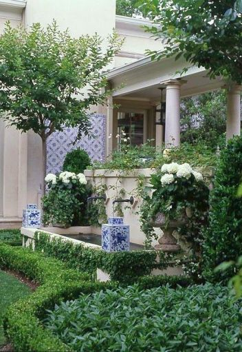 White Potted Hydrangeas via The Pink Pagoda