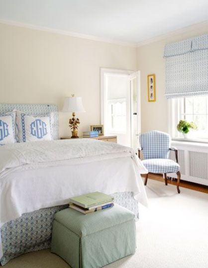 A calming bedroom with personality by Suellen Gregory via Vtinteriors