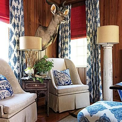 Interior Designer Matthew Bees Loved This Robshaw Fabric Which Is Apparent Since He Used It For The Curtains And Ottoman A Deep Shade Of Blue White