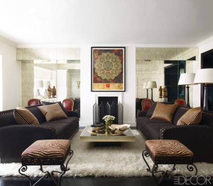 Dark and rich face to face sofas via Elle Decor