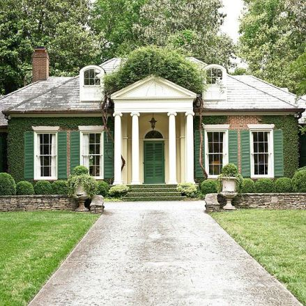 Green Shutters and Boxwoods via Better Homes and Gardens