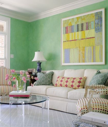 Green and colorful living area by Suellen Gregory via House of Turquoise